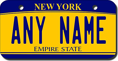 TEAMLOGO Personalized New York License Plate - Sizes for Kid's Bikes, Cars, Trucks, Cart, Key Rings Version 2 (3