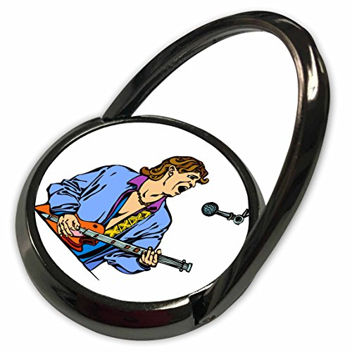 3dRose Susans Zoo Crew Music Instrument Guitar - singer male realistic blue shirt mic - Phone Ring (phr_176028_1) - Blue Musical Instruments Mic