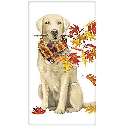 Mary Lake-Thompson Golden Retriever Autumn Branch Cotton Flow Sack Dish Towel