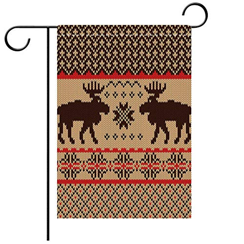 Double Sided Premium Garden Flag Cabin Decor Knitted Swatch with Deers and Snowflakes Classic Country Plaid Digital Print Decorative Decorative Deck, patio, Porch, Balcony Backyard, Garden or Lawn