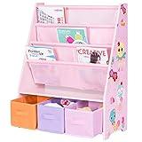 GJH One Kids Sling Bookshelf Bookcase Organizer Shelves Toys Free Storage Boxes W/3