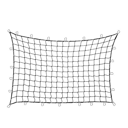 Orion Motor Tech 4'x6' Stretches to 8'x12' Trailer Truck Bed Cargo Net with 24pcs Aluminium Hooks, 4