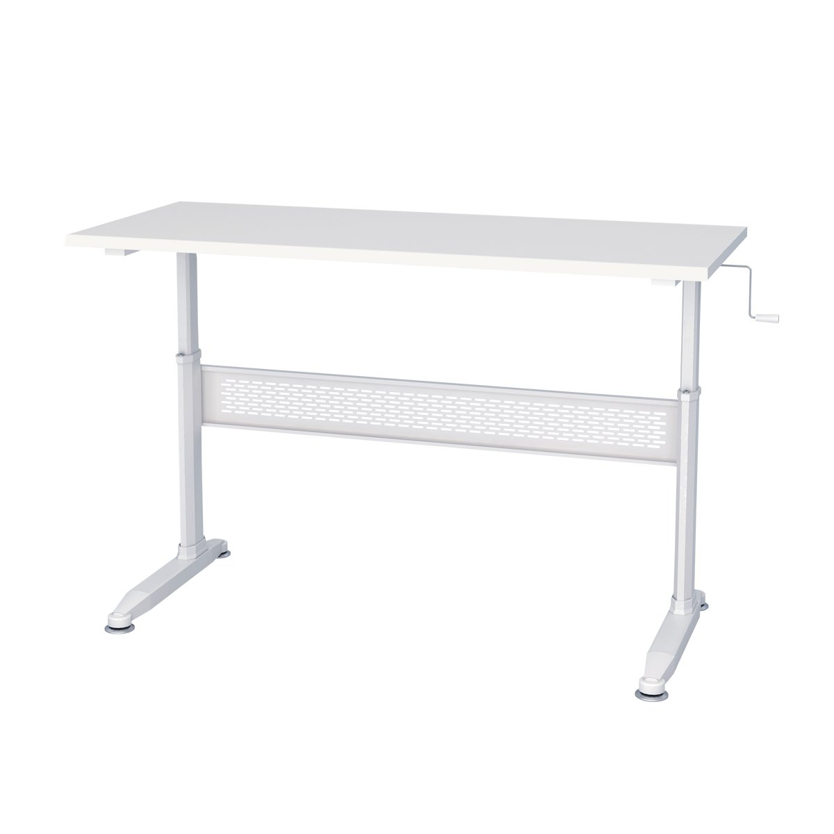 Standing Desk-55'' Crank Steel Adjustable Sit to Stand Up Desk in White by DEVAISE