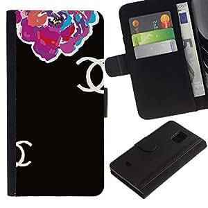 All Phone Most Case / Oferta Especial Cáscara Funda de cuero Monedero Cubierta de proteccion Caso / Wallet Case for Samsung Galaxy S5 Mini, SM-G800 // Begonia Floral Black Clothing Fashion