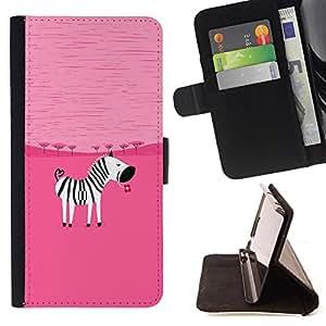 - Zebra - - Monedero PU titular de la tarjeta de cr?dito de cuero cubierta de la caja de la bolsa FOR Samsung Galaxy Core Prime Retro Candy