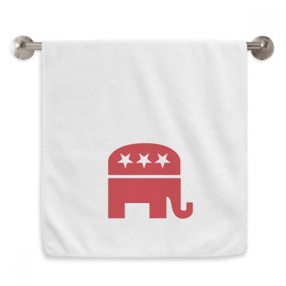 diythinker America Elephantエンブレム共和党レッドCircletホワイトタオルソフトタオルWashcloth 13 x 29インチ B07C1LPJDD