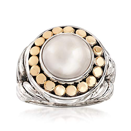 Ross-Simons 11-12mm Cultured Mabe Pearl Ring in 18kt Yellow Gold and Sterling Silver (Ring Yellow Pearl Mabe Gold)