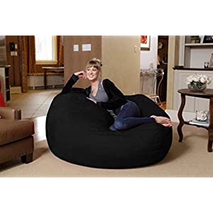 Chill Sack Bean Bag Chair: Huge 5' Memory Foam Furniture Bag and Large Lounger - Big Sofa with Soft Micro Fiber Cover - Black