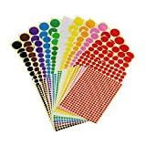 Sticky Color Coding Labels Removable Small Circle Dot Stickers for Classroom Organization Decorations Yard Sale Calendar Planner, Assorted Sizes, 10 Colors, Total 50 Sheets