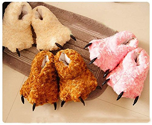 Fur Paw Warm Fuzzy Faux Shoes Novelty Tonwhar Claw Slippers Animal Costume Pink wF4xfqAYg