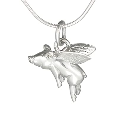 Amazon when pigs fly flying pig charm pendant necklace 925 when pigs fly quot flying pigquot charm pendant necklace 925 sterling mozeypictures Gallery
