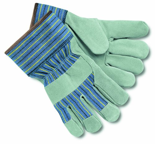 MCR Safety 1450L Cow Leather Foam Insulated Palm Men's Gloves with 2-1/2-Inch Rubberized Safety cuff, Pearl/Gray, Large, 12 Pair ()
