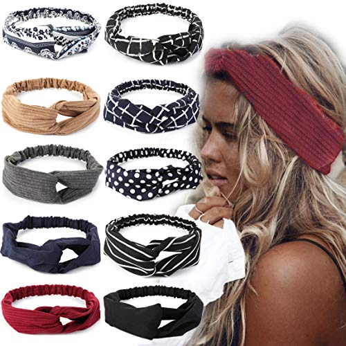 LOLIAS 10 Pack Headbands for Women Elastic Boho Flower Yoga Head Wrap Hair Band Soft