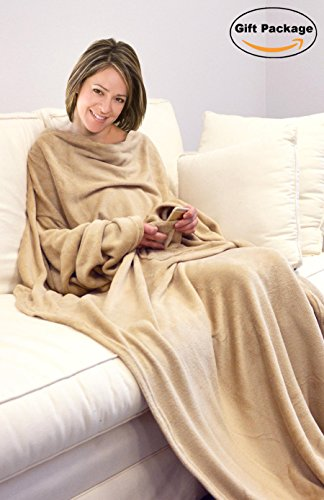 Napa Deluxe Fleece Blanket With Sleeves And Pockets, Lounging Super Soft Microplush Adult Throw Robe for Lounge Couch or Bed - Retail Packaging - Latte