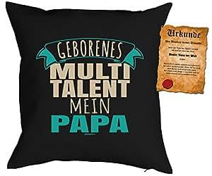Almohada de 40x 40cm Con Diseño Día del Padre: geborenes Multi Talent. Mi Papa–con gratis Escrituras–Cojín–Almohada decorativa–Negro