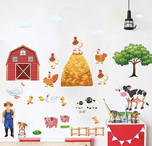 Lifme Cartoon DIY Farm Animals Wall Stickers for Living Room Bedroom Duck Pig Hen Cows Tree Wall Decals Poster Mural ()