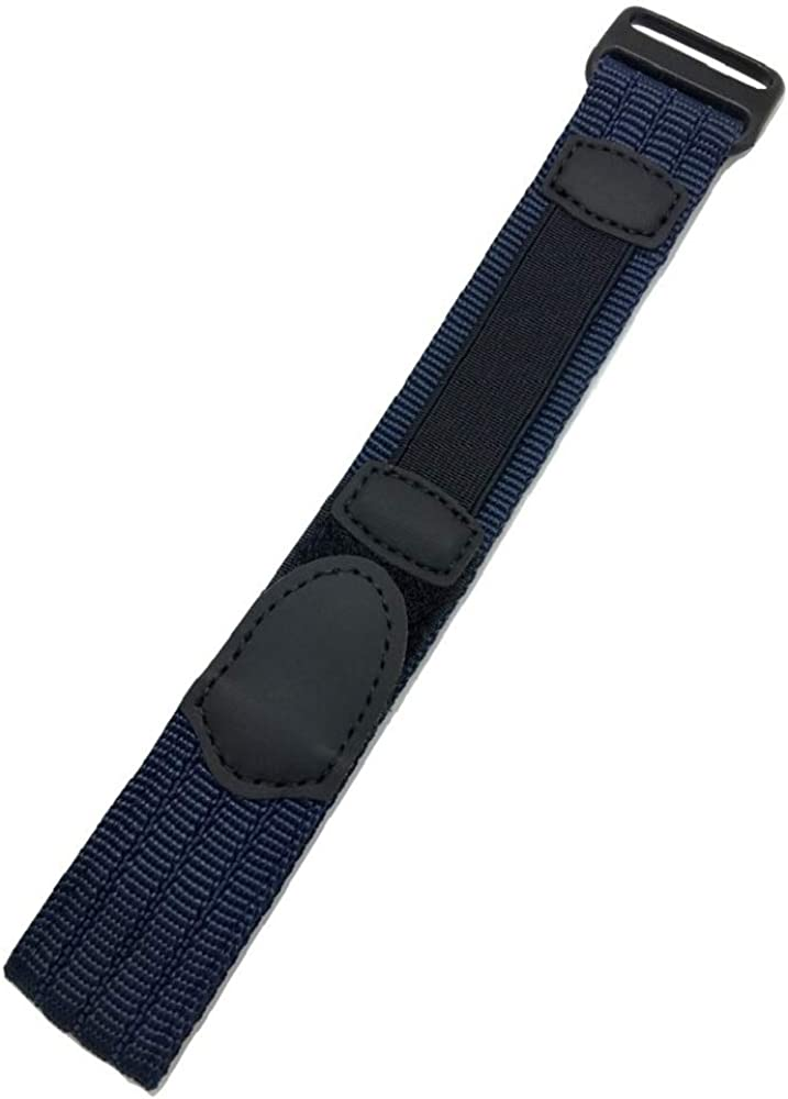 18mm Adjustable-Length, Dark Blue/Black, Nylon Watch Strap | Heavy Duty, Hook and Loop, Sport Replacement Wrist Band for Men and Women