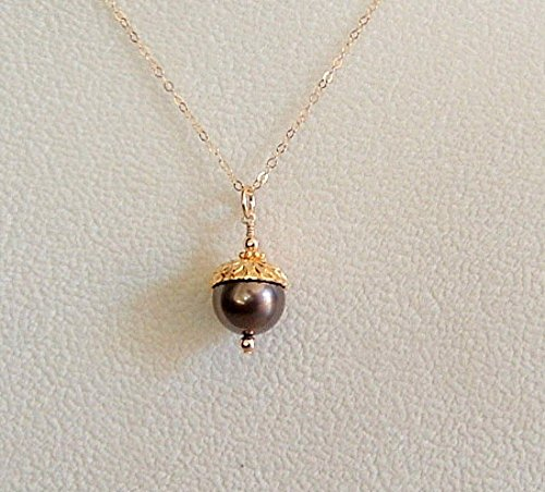 Brown Swarovski Elements Simulated Pearl Acorn Pendant Necklace Chain 24 (Elements Of Nature Costumes)