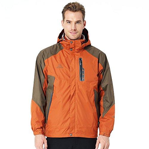 TFO Men's Jacket with Hood Waterproof Windproof Fleece Lined 3 in 1 Ski (Orange Thermal Lined Zipper Hooded)