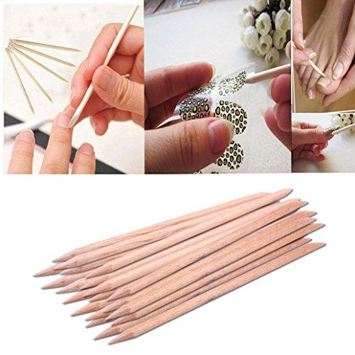 DEESEENew20Pcs Nail Art Orange Wood Stick Cuticle Pusher Rem