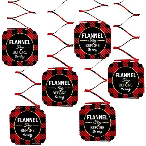 Big Dot of Happiness Flannel Fling Before The Ring - Buffalo Plaid Bachelorette Party Hanging Decorations - 6 Count