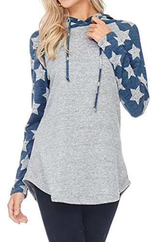 - iconic luxe Women's Star Print Sweater with Hoodie Small Denim