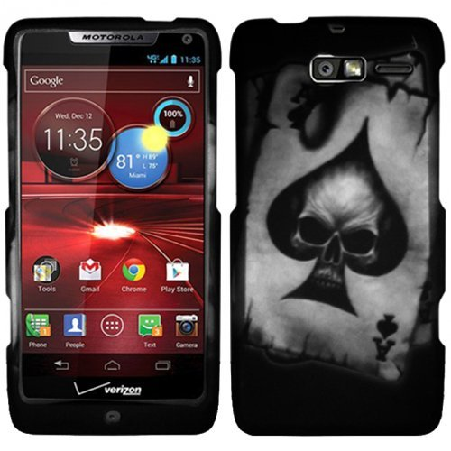 Ace of Spade Skull Silver Black Hard Case Cover For Motorola Droid Razr M XT907 Razor with Free Pouch