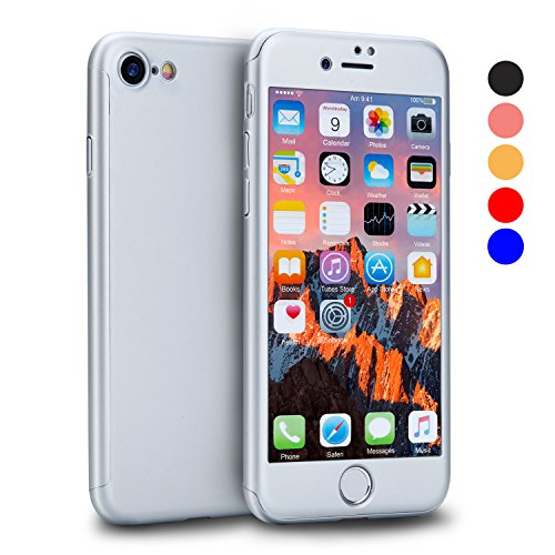 VANSIN iPhone 7 Case, 360 Full Body Protection Hard Slim Case Coated Non Slip Matte Surface with Tempered Glass Screen Protector for Apple iPhone 7 Only (4.7-inch) - (Silver)