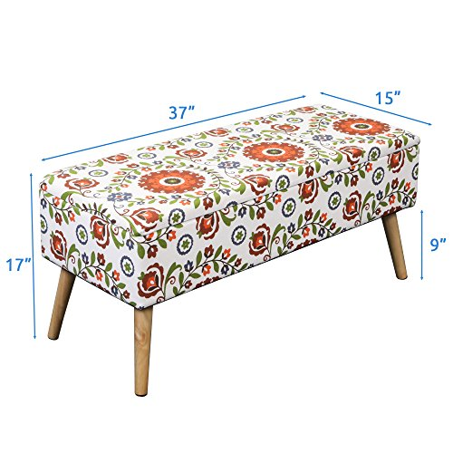 "Otto & Ben 37"" Storage Bench - Mid Century Ottoman with EASY LIFT Top, Upholstered Shoe Ottomans Seats for Entryway and Bedroom, Retro Floral"