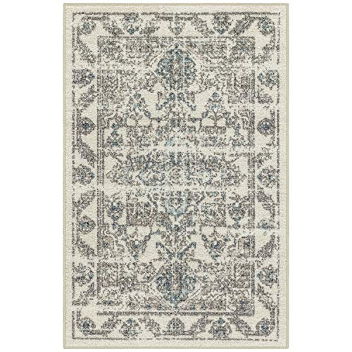 Maples Rugs Kitchen Rugs - Distressed Tapestry 2'6 x 3'10 Non Skid Washable Throw Rugs [Made in USA] for Entryway and Bedroom, Neutral