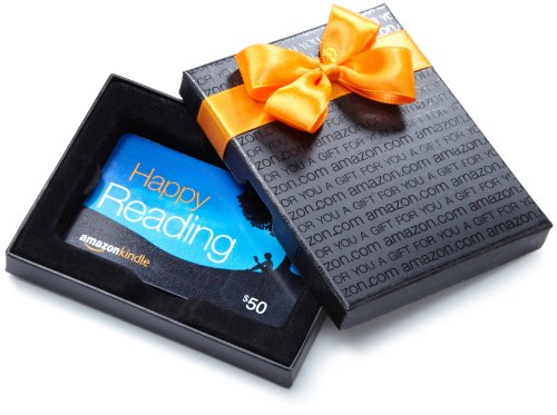 Amazon.com $50 Gift Card in a Black Gift Box (Amazon Kindle Card Design) (Card Designs Free)