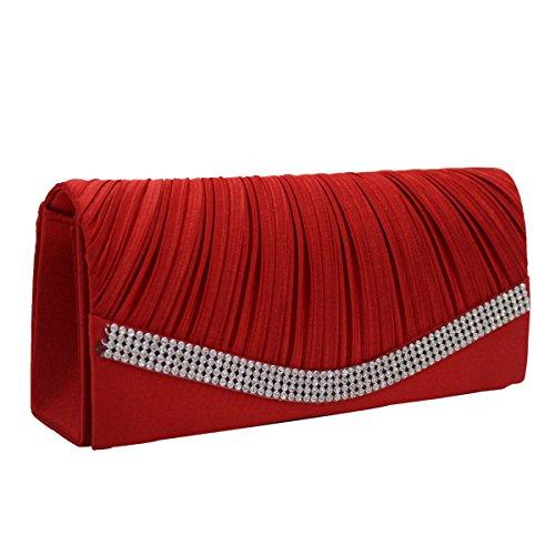 Moldeado Del Satén De Las Señoras Del Monedero Del Embrague De Tarde Del Bolso Bolsos Multicolor Red