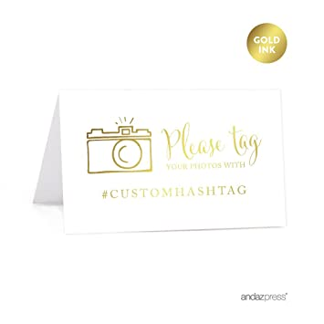 andaz press personalized hashtag table tent place cards double sided metallic gold ink - Custom Place Cards