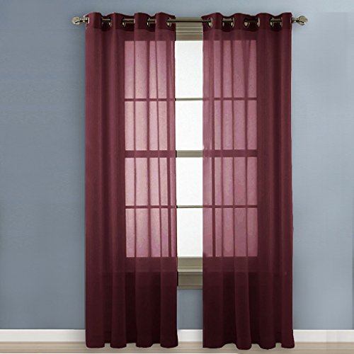 NICETOWN Sheer Curtains Voile Curtains - Elegant Pair of Drapes / Panels for Villa, Perlor, Hall (2 Pack, W54 x L84 inches,Burgundy-Wine) - Waterfall Wine