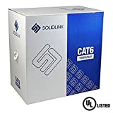 SolidLink Bare Copper CAT6 1000' Riser (CMR Rated) UL Listed UTP Solid Conductor Cable 23 AWG LAN Network Ethernet RJ45 Wire (White)