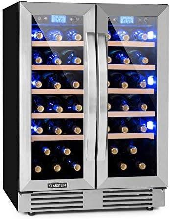 Klarstein Vinovilla Duo42 - Nevera para vinos, Nevera para bebidas, 126 litros, 10 estantes de madera, Control táctil, Iluminación interior LED con 3 colores seleccionables, Dos zonas, Negro