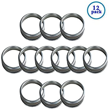 Silver Rust Resistant Screw Stainless Steel Rings / Bands for Mason, Ball, Canning Jars (12 Pack, Regular Mouth)