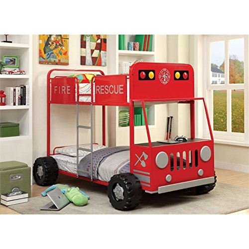 Furniture of America Petar Twin Over Twin Fire Truck Bunk Bed in Red