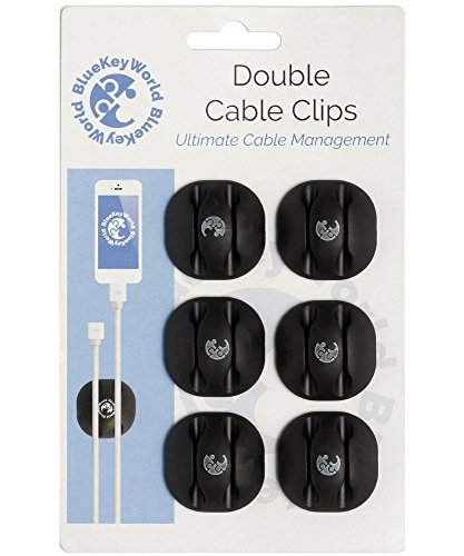 Cable Clips - Cord Holders - Wire Hooks - Clutter Free Desk in Minutes, No More Lost Wires on Floor - 6 pack - Cord Management and Organizer - Desk, Home, Office, Cubicle, Nightstand, Car - Gift Idea -