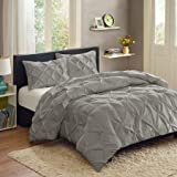 Better Homes and Gardens Pintuck 3-Piece Bedding Comforter Mini Set, Grey - KING
