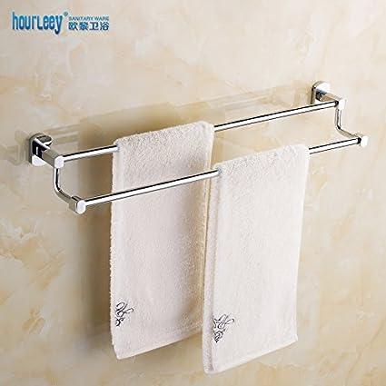 bbslt latón macizo de doble puerta toallas baño toallero doble baño de acero inoxidable Larga Barra