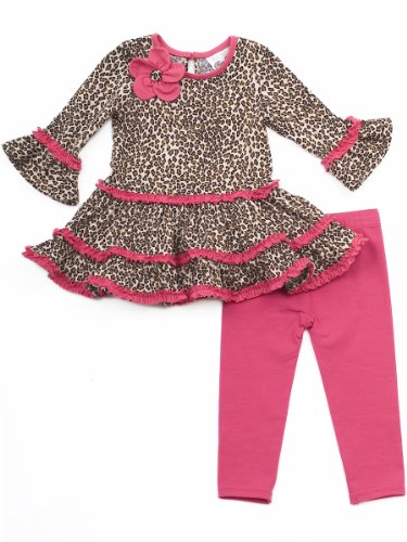 Rare Editions Little Girls' Cheetah Print Legging Set