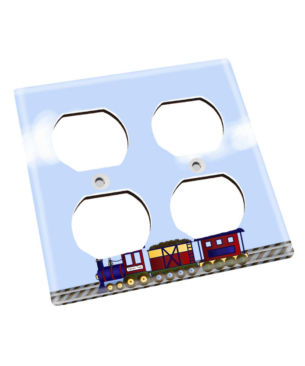 Cloudy Red and Blue Train Railroad Nursery Bedroom Light Switch Cover LS0103 (Double Outlet) by Toad and Lily