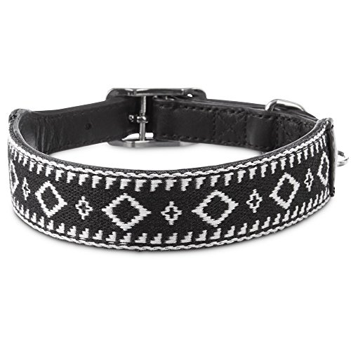 Bond & Co. Aztec Black & White Dog Collar, for Neck Sizes 15-18, Medium