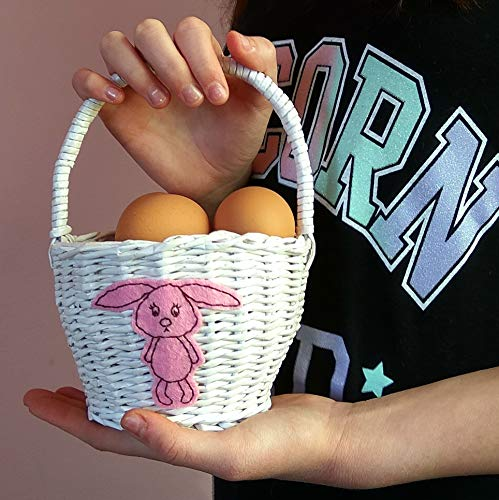 Easter basket for kids. White wicker handmade bunny rabbit ideas, girls centerpiece. Personalized -