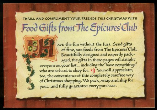 Epicures Club Food Gifts Catalog & Reply Materials 1949