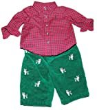 Ralph Lauren Polo Layette Boys Shirt Pant Set Yorke Dog Red Green 6M