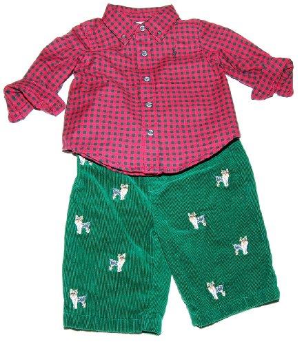 Ralph Lauren Polo Layette Boys Shirt Pant Set Yorke Dog Red Green 6M by Ralph Lauren (Image #4)