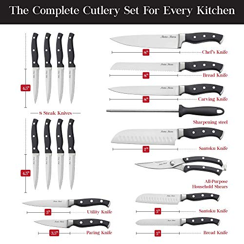 19-Piece-Premium-Kitchen-Knife-Set-With-Wooden-Block-Master-Maison-German-Stainless-Steel-Cutlery-With-Knife-Sharpener-8-Steak-Knives-Gray