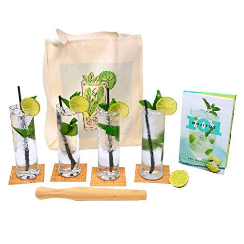 Mojito Gift Set (Party Mojito Gift Set with Mojito Glasses, Coasters, Muddler, Recipe Book and Carry Bag (Non-Printed Gift Box))